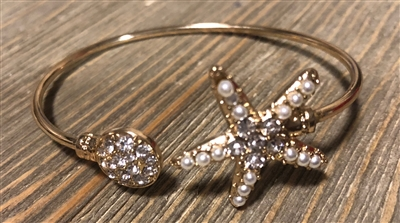 Gold Starfish and Pearl Bracelet
