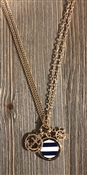 "Gold 34"" Necklace with Navy and White Stripped Anchor"