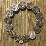 Silver Textured Coin with Rhinestone Accent Stretch Bracelet