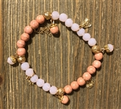 Pink Two Tone Crystal Stretch Bracelet