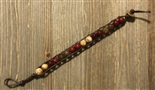 Red and Jasper Brown Threaded Button Closure Bracelet