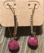 Red Natural Stone Drop with Rhinestones Earrings