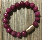 Plum Natural Stone with Gold Bar Stretch Bracelet