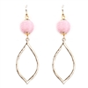 Pink Wrapped Pom Pom drop Earring with Gold Teardrop