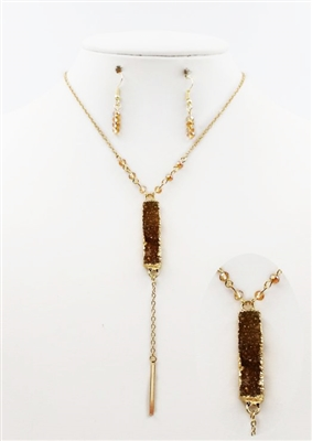"36"" Necklace with Brown Rectangle Druzy and Gold Bar"