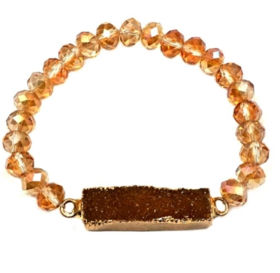 Champagne Crystal Stretch Bracelet with Rectangle Druzy