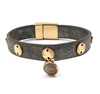 Gold Coin and Semi Precious Accent on  Leather Magnetic Bracelet