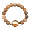 Brown Druzy Stone Stretch Bracelet with Glass Accent