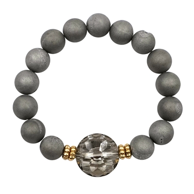 Grey Druzy Stone Stretch Bracelet with Glass Accent