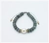 Grey Natural Stone and Pearl Draw String Bracelet