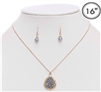 "Gold 16""-18"" necklace with Grey Teardrop Cluster Stone"