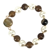 Brown Stone and Pearl Stretch Bracelet