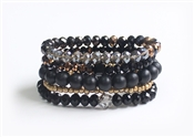 Stack it! Black Stone, Crystal, and Gold Nugget set of 5 Stretch Bracelet (Best Seller)