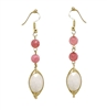 Peach Crystal Beaded Drop Earring