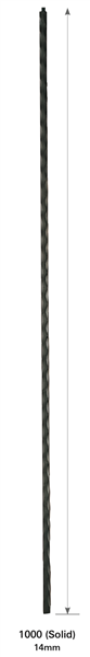 "1000: 44"" Edge Hammered Plain Baluster"