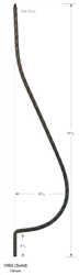 "1050: 41"" Edge Hammered Belly Baluster"