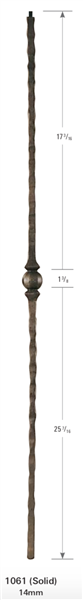 "1061: 44"" Face Hammered One Knuckle Baluster"