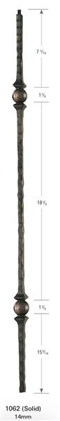 "1062: 44"" Face Hammered Two Knuckle Baluster"