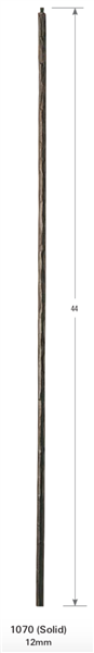 "Florence Collection - 1070: 44"" Hammered Round Bar Baluster  
