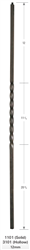 "Crown Heritage Stair Parts 1101: 44"" Solid Single Twist Baluster  