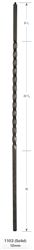 "Palermo Collection Stair Parts 1103: 44"" Solid Long Twist Baluster  