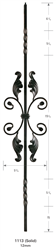 "Palermo 1113: 44"" Solid Double Twist Baluster w/ Fancy Scroll  