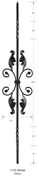 "1113: 44"" Solid Double Twist Baluster w/ Fancy Scroll"
