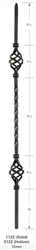 "1122: 44"" Solid Single Twist Baluster w/ Double Basket"