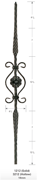 "1212: 44"" Solid Feather Baluster w/ Circle Scroll"