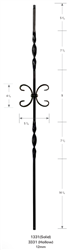 "1331: 44"" Solid Double Ribbon Baluster w/ Single Scroll"