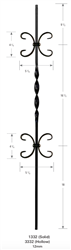 "1332: 44"" Solid Single Ribbon Baluster w/ Double Scroll"
