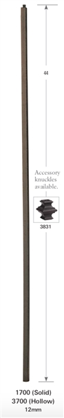 1700: Solid Plain Square Bar Baluster