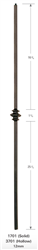 1701: Solid Plain Square Bar Baluster w/ Single Knuckle