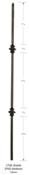 1702: Solid Plain Square Bar Baluster w/ Double Knuckle