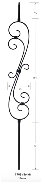 Iron Stair Baluster Parts - 1708: Solid Scroll Baluster | Stair Part Pros