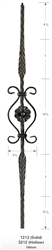 "3212: 44"" Hollow Feather Baluster w/ Circle Scroll"