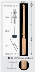 Wood Baluster & Newel Stair Parts Series 4010: Universal Newel | Stair Part Pros