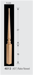 Wood Baluster & Newel Stair Parts Series 4013: Rake Newel | Stair Part Pros