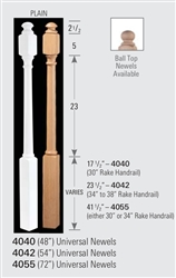 Wood Baluster & Newel Parts 4055: Universal Post-to-Post Newel | Stair Part Pros