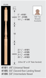 Wood Baluster & Newel Parts 4185: Universal Post-to-Post Newel | Stair Part Pros