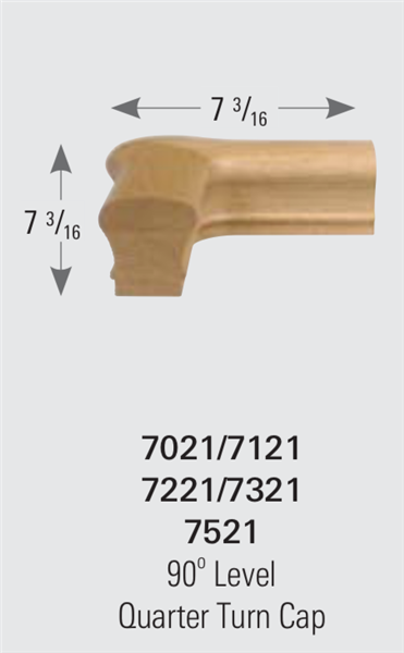 7121: 90º Level Quarter Turn Cap Handrail Fitting