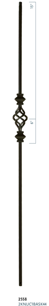 "C2558: 44"" Double Knuckle w/ Single Basket Baluster"