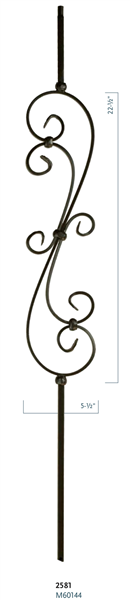 "C2581: 44"" Skinny Scroll Baluster"