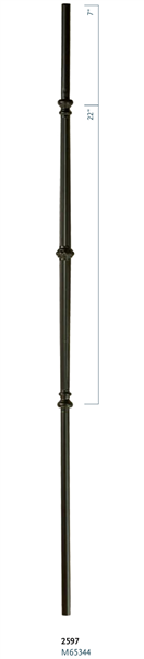 "C2597: 44"" Venetian Fluted Bar w/ Knuckle Baluster"