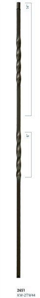 "Iron Stair Baluster Parts - C2651: 36"" Double Twist Baluster  