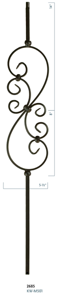 "Iron Stair Baluster Parts - C2685: 36"" Small Scroll Baluster  