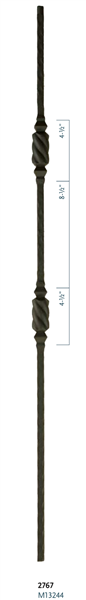 "Iron Stair Baluster Parts - C2767: 44"" Double Beehive Baluster  
