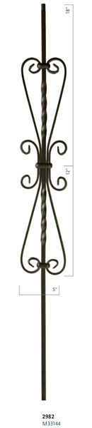 "C2982: 44"" 5 1/2"" Heart Scroll Baluster"