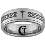8mm 1-Step Pipe Tungsten Carbide with a Celtic Knot Christian Cross Design