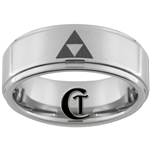 8mm 1-Step Pipe Satin Finish Tungsten Legend of Zelda Triforce Designed Ring